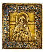 *Hl. Maron Russische Bronze-Ikone, 19. Jh. 11,4 x 10,1 cm Der hl. Maron lebte im Gebirge bei Kyros