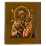 *Gottesmutter Iverskaja Russische Ikone, Ende 19. Jh. 31 x 26,5 cm Provenienz: Norddeutsche