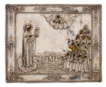 *Gottesmutter Bogoljubskaja Russische Ikone, um 1800, mit Silberoklad, St. Petersburg 1801