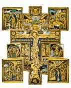 *Hauskreuz Russisches, fünffach-emailliertes Bronze-Kreuz, 19. Jh. 16,1 x 14 cm Seltene