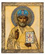 *Hl. Nikolaus Russische Ikone, um 1900, mit vergoldetem Silberoklad (479g), Moskau 1896-1907