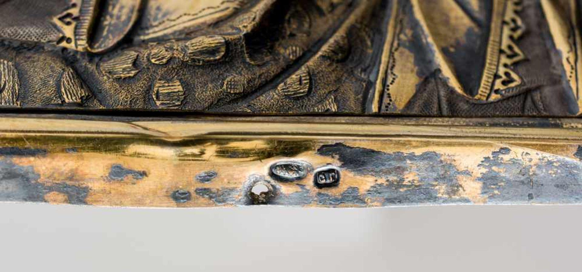 """*Christus Pantokrator Russische Ikone, um 1900, mit Silberoklad, Moskau 1896-1908 Meister: """"S.G."""" in - Bild 3 aus 4"""