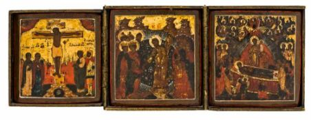 *Kreuzigung Jesu, Anastasis und Entschlafung der Gottesmutter Russisches Triptychon, 2. Hälfte 17.
