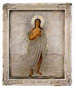 *Hl. Maria von Ägypten Russische Ikone, letztes Viertel 19. Jh., mit Silberoklad, St. Petersburg