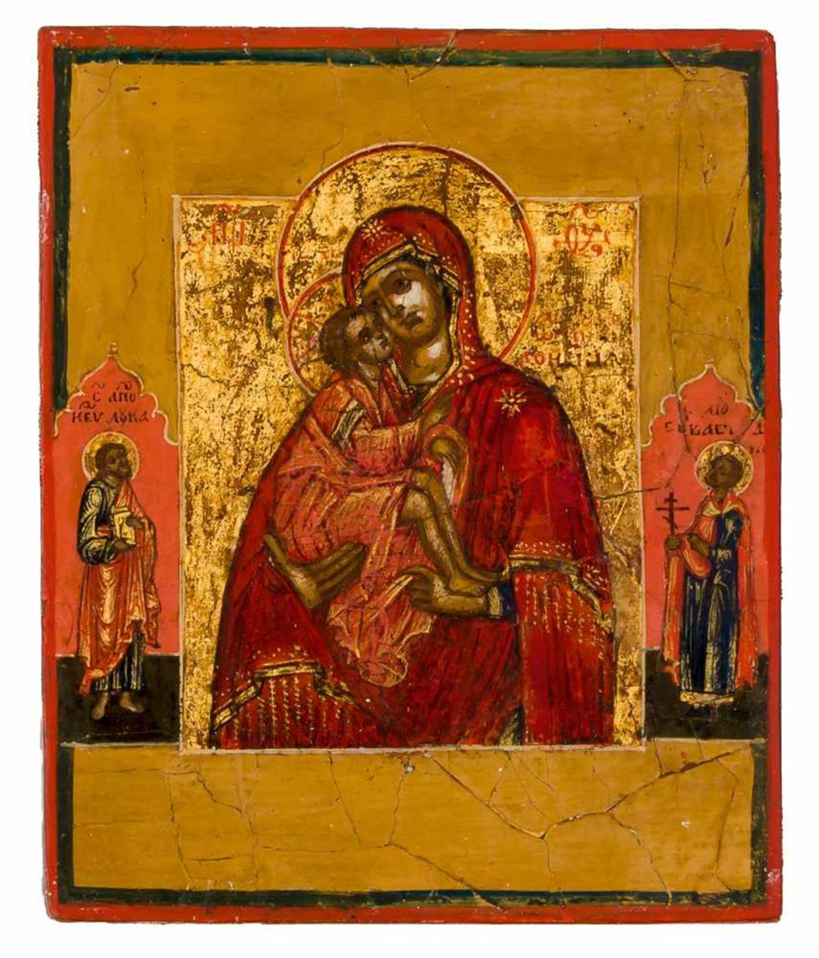 *Gottesmutter Donskaja Russische Ikone mit Silberoklad, 18. Jh 10 x 8,3 cm Am Rande sind der hl. - Bild 2 aus 2