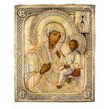 *Gottesmutter von Tichvin Russische Ikone, 2. Hälfte 19. Jh., mit Silberoklad, St. Petersburg 1878