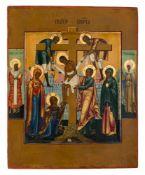 *Kreuzabnahme Russische Ikone, 2. Hälfte 19. Jh. 22,5 x 18 cm Links ist der hl. Metropolit Petr