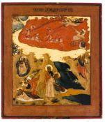 *Hl. Prophet Elias mit Vita Russische Ikone, 1. Hälfte 19. Jh. 40 x 35 cm Auf der Ikone sind
