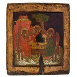 *Hl. Dreifaltigkeit (alttestamentlicher Typus) Russische Ikone, um 1700 31,5 x 28 cm In Genesis 18,