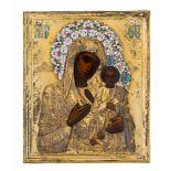 *Gottesmutter Iverskaja Russische Ikone, um 1900, mit Silberoklad, Moskau 1896 - 1908 Meister: