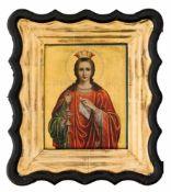 *Hl. Barbara Pilgerikone vom Berg Athos, um 1900 22,5 x 17,8 cm (Kiot: 35 x 31 cm) Der Stempel auf