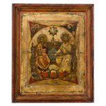*Hl. Dreifaltigkeit (westlicher Typus) Russische Ikone, um 1700 27,2 x 22,5 cm Diese Darstellung der