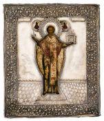 *Hl. Nikolaus von Moshajsk Russische Ikone, Ende 17. Jh., mit Silberoklad (219 g), Moskau 1863