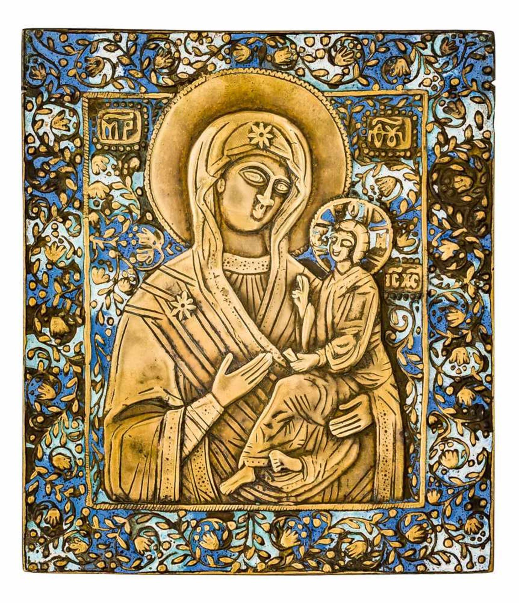 *Gottesmutter von Tichvin Russische zweifach emaillierte Bronze-Ikone, um 1800 17,5 x 15,2 cm Eine