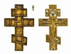 *Kreuz mit Reliquar Russisches dreifach-emailliertes Bronze-Kreuz, 19. Jh. 17 x 11 cm Sehr
