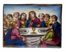 *Abendmahl Jesu Russisches Finifti (Rostov), 19. Jh. 7 x 5,3 cm Provenienz: Norddeutsche