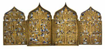 *Festtage und Szenen des Marienlobs Russisches fünffach-emailliertes Bronze-Tetraptychon, 19. Jh. 18