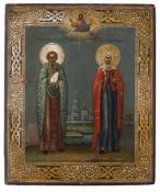 *Hl. Märtyrer Alexander und Hl. Märtyrerin Elikonida Russische Ikone, um 1900 27 x 22,5 cm