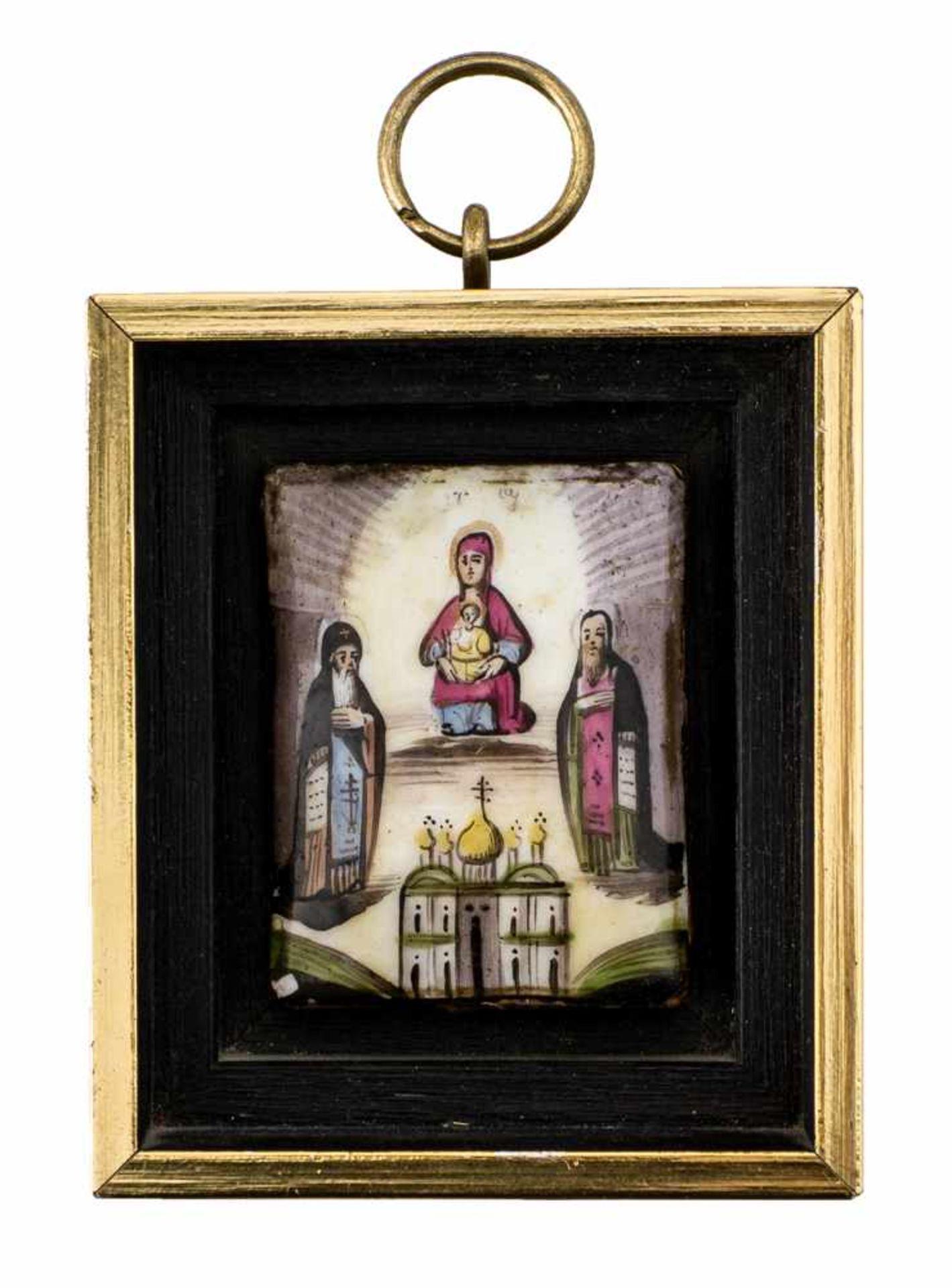*Gottesmutter vom Kiever Höhlenkloster (Petscherskaja) Russisches Finifti, 19. Jh. 6 x 4,5 cm (mit