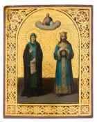 *Hl. Maria und hl. Konstantin Russische Ikone, um 1900 22,8 x 18 cm Provenienz: Norddeutsche
