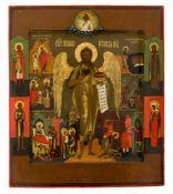 *Hl. Johannes der Vorläufer mit Vita-Szenen Russische Ikone, Ende 19. Jh. 31 x 26,5 cm In der