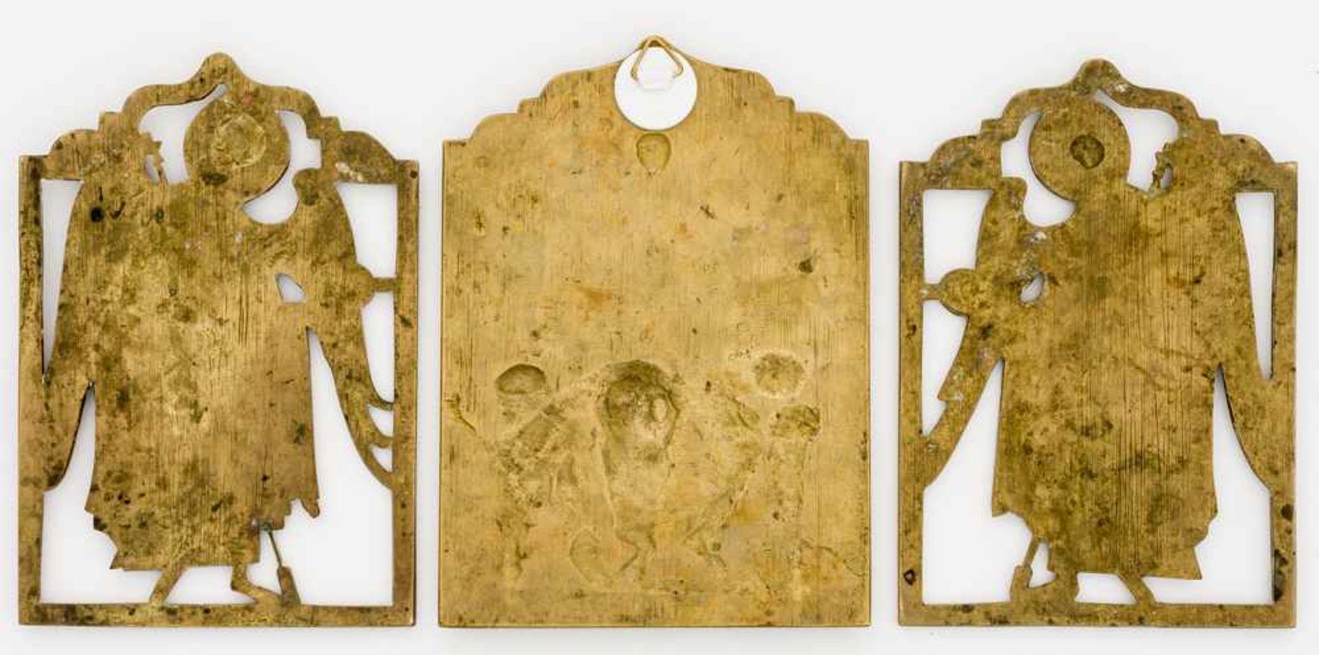 *Christus Pantokrator mit den Erzengeln Michael und Gabriel Russische Bronze-Ikonen, 19. Jh. 22,5 - Bild 2 aus 2