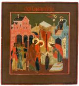 *Einführung Mariens in den Tempel Russische Ikone, 2. Hälfte 19. Jh. 42 x 39 cm Die Begebenheit