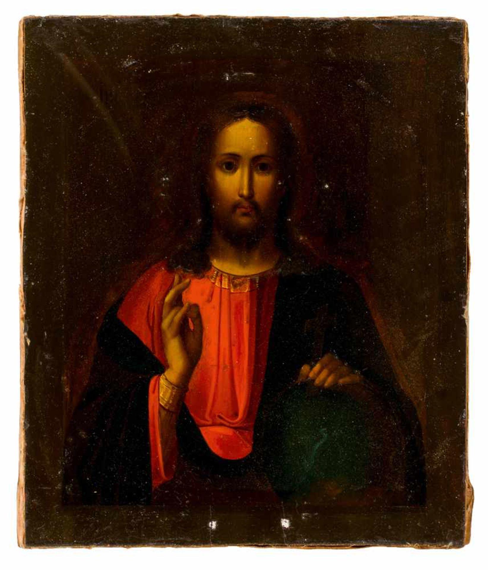 *Christus Pantokrator Russische Ikone, 2. Hälfte 19. Jh., mit Silberoklad (320 g), Moskau 1867 - Bild 4 aus 4