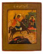 *Hl. Demetrios von Thessaloniki Russische Ikone, 19. Jh. 13,3 x 11 cm Demetrios stammt aus