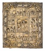 *Festtage Russische Ikone mit Silberoklad (348 g), spätes 18. Jh. 31,5 x 27 cm Um das österliche