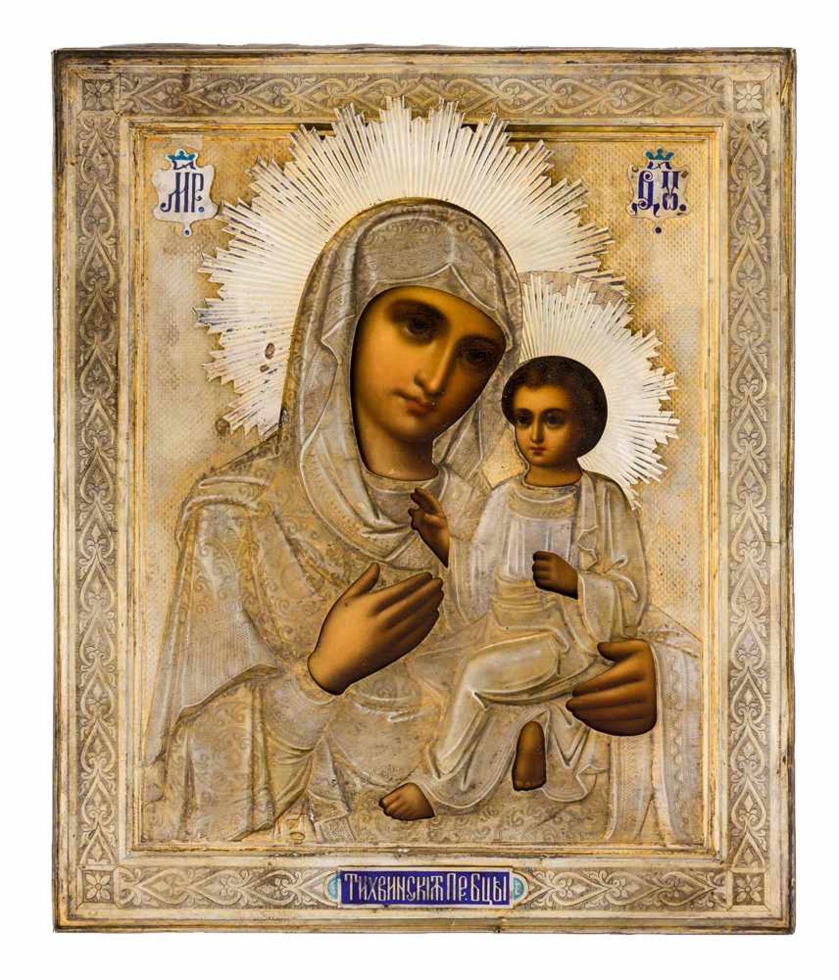 """*Gottesmutter von Tichvin Russische Ikone, um 1900, mit Silberoklad, Moskau 1908-1917 Meister: """"N."""