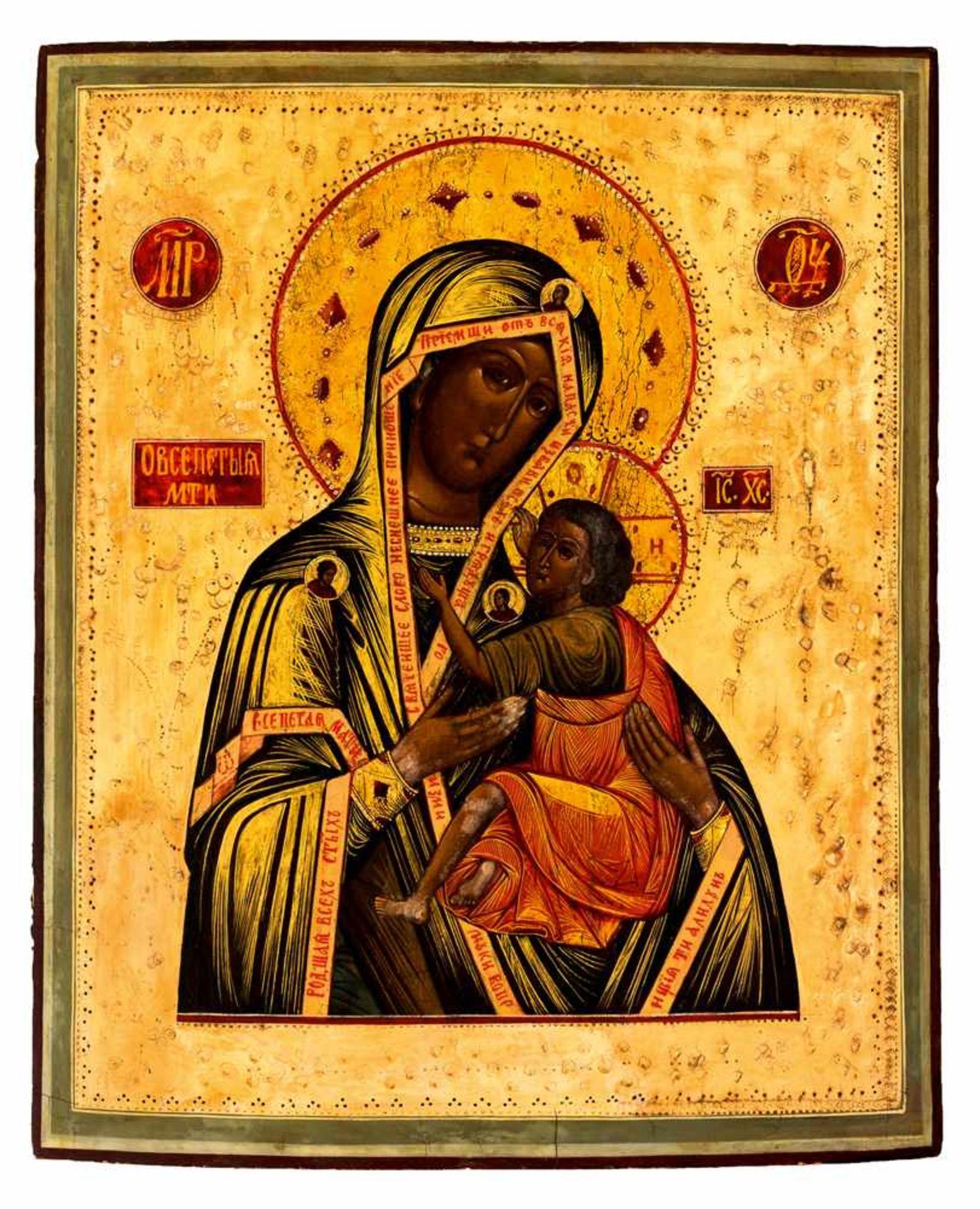 """*Gottesmutter Ovsepetaja"""" (=die Allgepriesene) Russische Ikone, 1. Hälfte 19. Jh., mit - Bild 3 aus 4"""