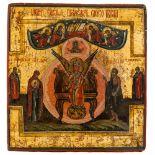 *Hl. Sophia Russische Ikone, 1. Hälfte 19. Jh. 19,5 x 18,5 cm Auf dem Thron sitzt die Göttliche