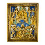 """*""""Eingeborener Sohn, Wort Gottes"""" Russische fünffach emaillierte Bronze-Ikone, 19. Jh. 9,2 x 7,5"""