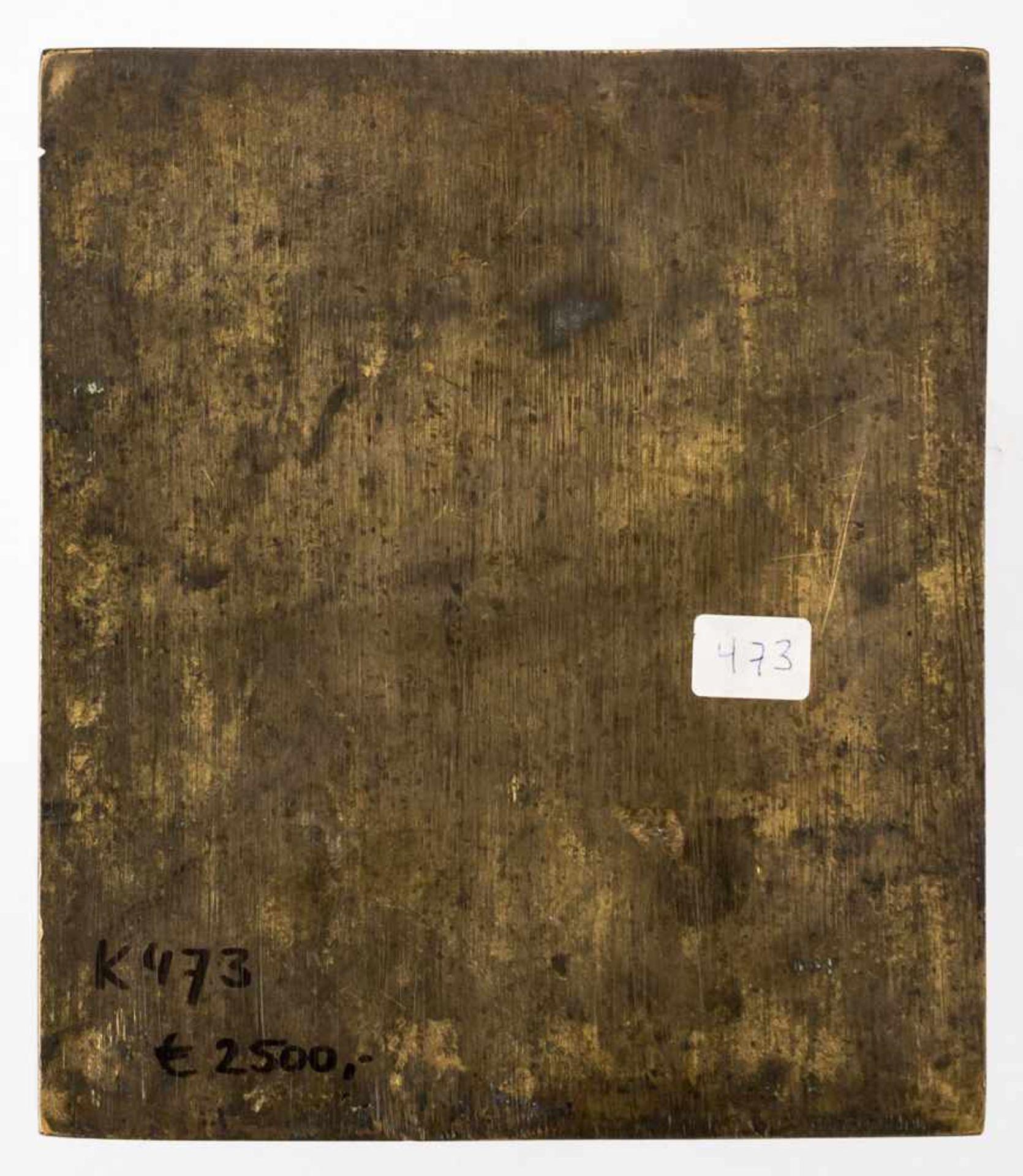 *Gottesmutter von Tichvin Russische zweifach emaillierte Bronze-Ikone, um 1800 17,5 x 15,2 cm Eine - Bild 2 aus 2