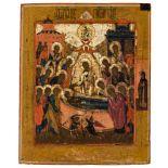 *Entschlafung der Gottesmutter Russische Ikone. Ende 18. Jh. 54 x 43,5 cm Auf einer Bahre liegt