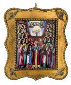 *Die Heiligen des Kiever Höhlenklosters Russisches Finifti (Rostov), 19. Jh. 7,3 x 6,4 cm