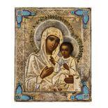 *Gottesmutter Iverskaja Russische Ikone, um 1900, mit Silberoklad, Moskau 1896-1908 Meister: