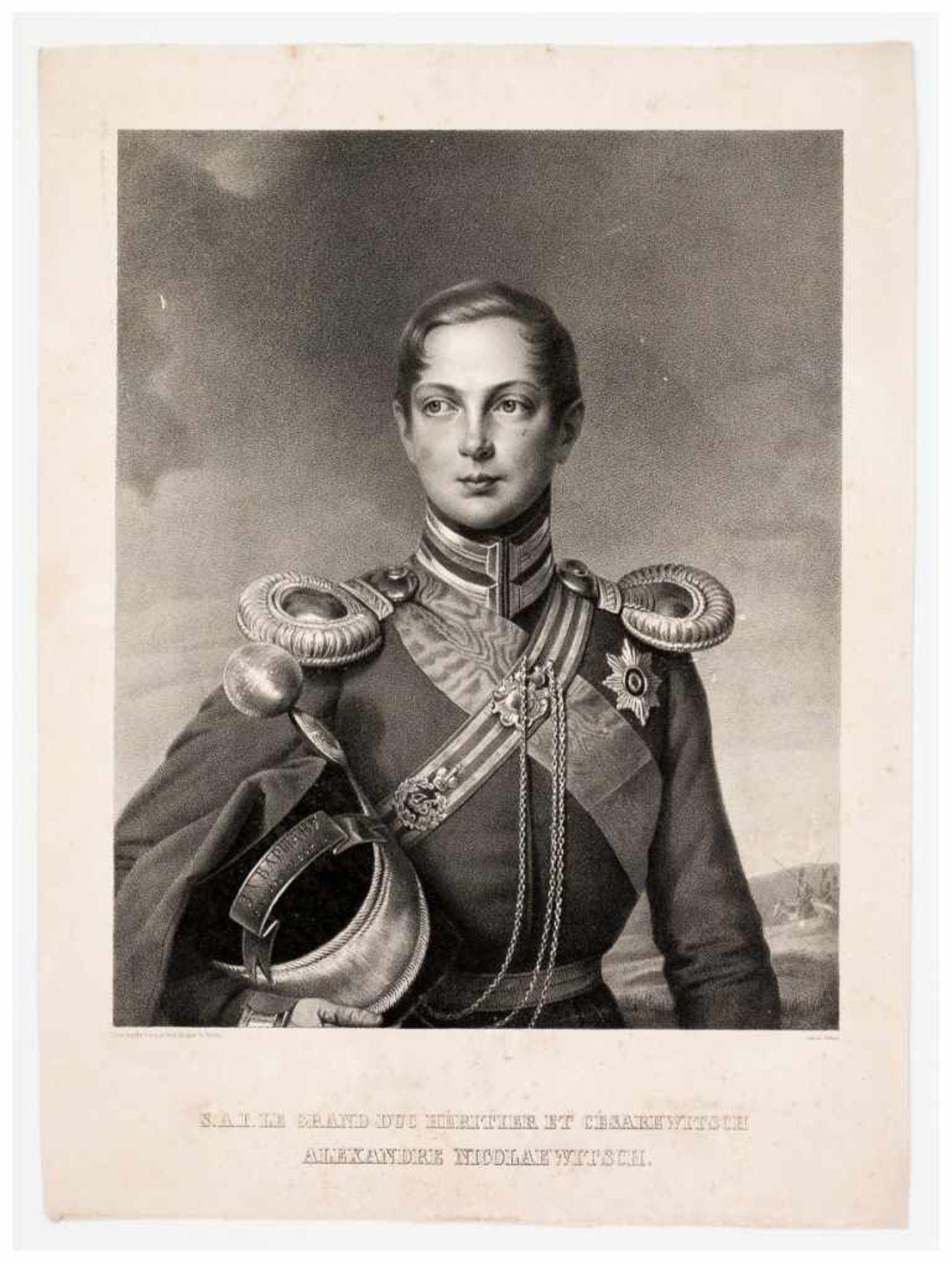 Los 47 - Grossherzog Alexander Nicolaevitsch, der spätere Zar Alexander II. Lithographie, um 1850 von Schall