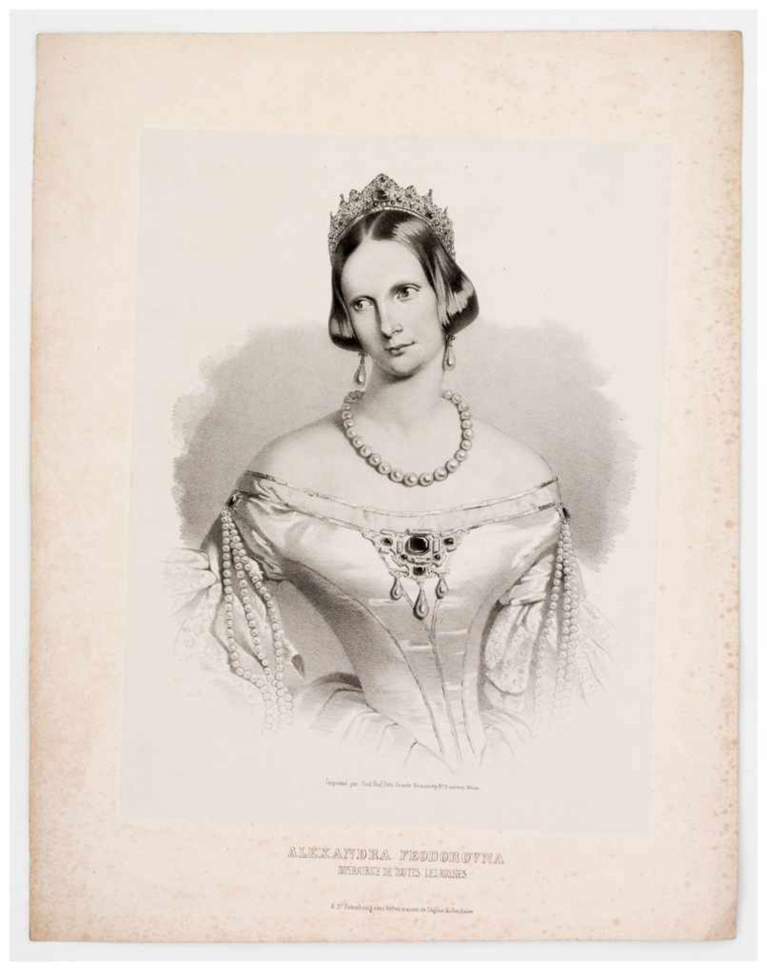 Los 43 - Kaiserin Alexandra Fjodorovna Lithographie, gedruckt in St. Petersburg um 1840 Papiergrösse: ca.