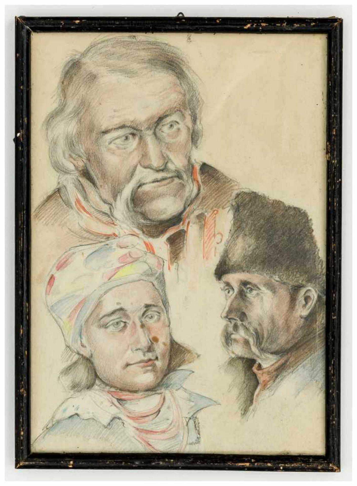 Los 57 - Ukrainische Portraits Kolorierte Bleistiftzeichnung, 20. Jh. Rahmen: ca. 28 x 20,5 cm Ukrainian