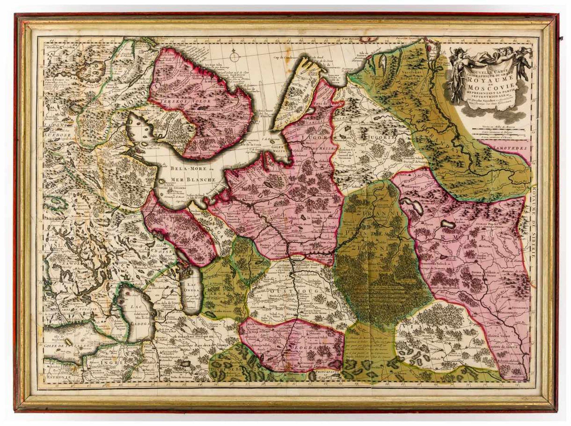 Los 60 - Landkarte Russland Kupferstich von Nicolas Visscher (1618-1679), Amsterdam, um 1680 Bildgrösse: