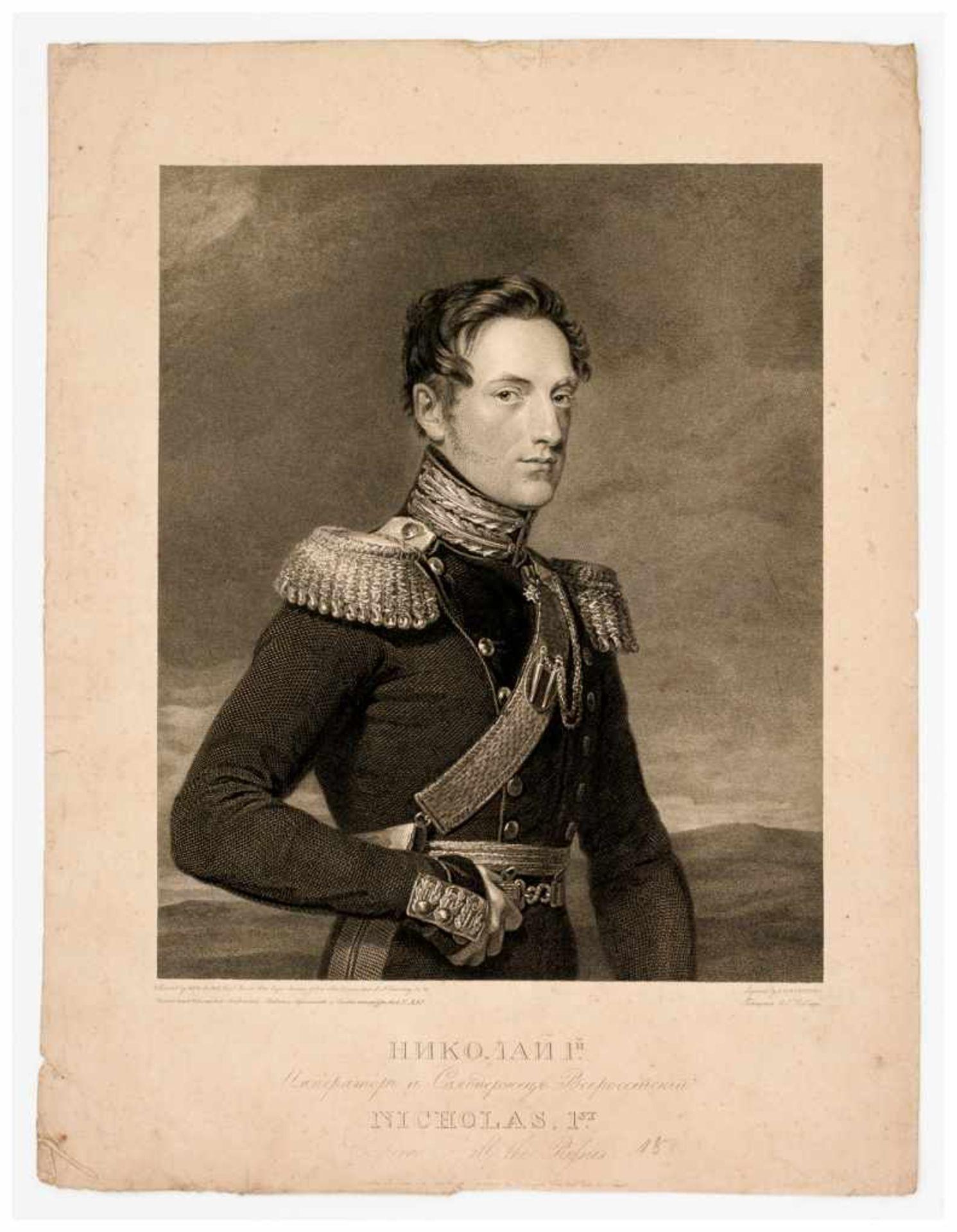 Zar Nikolaus I. Stahlstich, publiziert 1826 von John Hebry Robinson nach George Dawe Papiergrösse: - Bild 2 aus 2