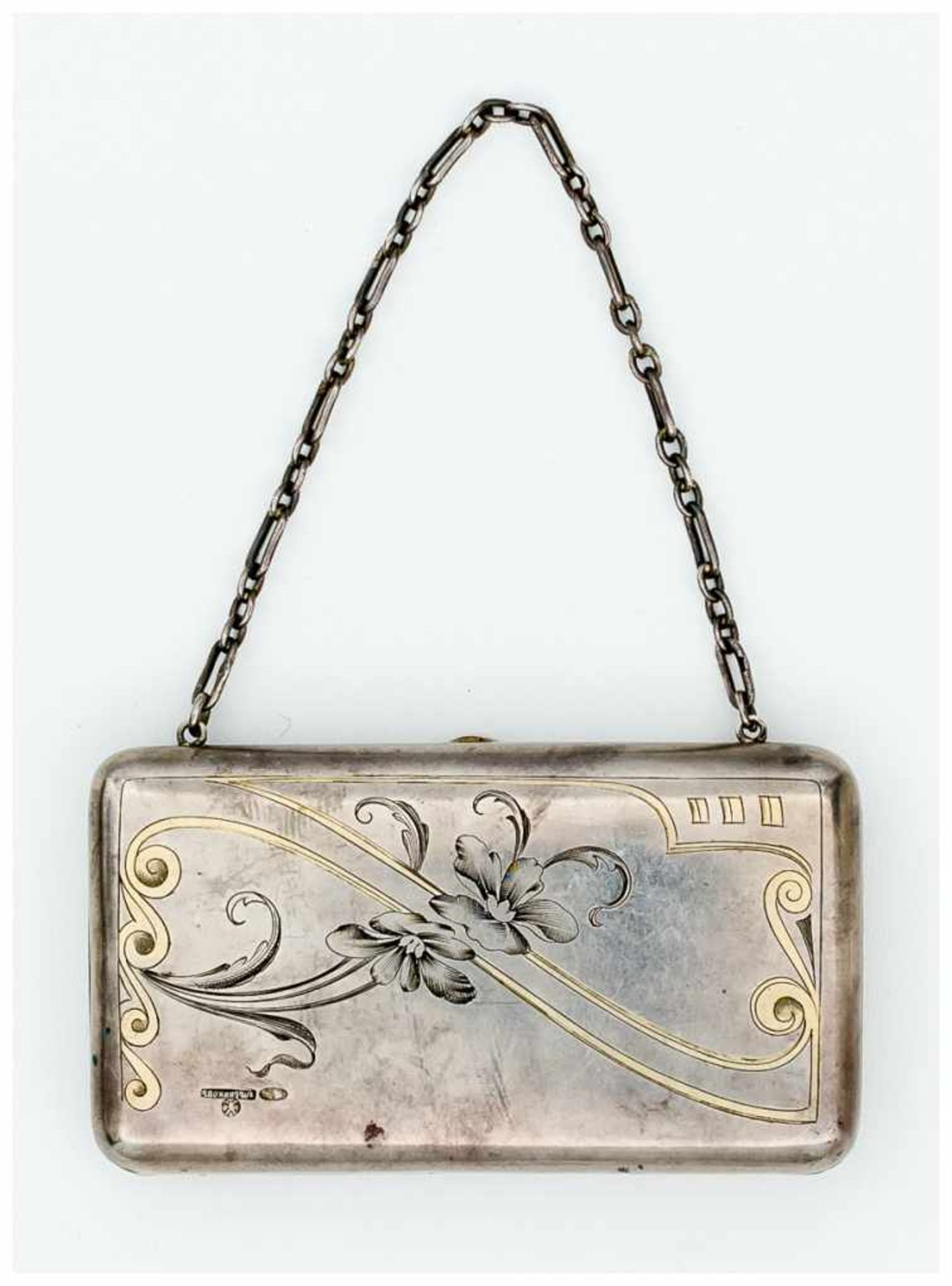 Abendtasche Moskau, 1908 - 1917 Silber, 124g Meister: Khlebnikov 6,5 x 11 cm Ladies Opera Purse //