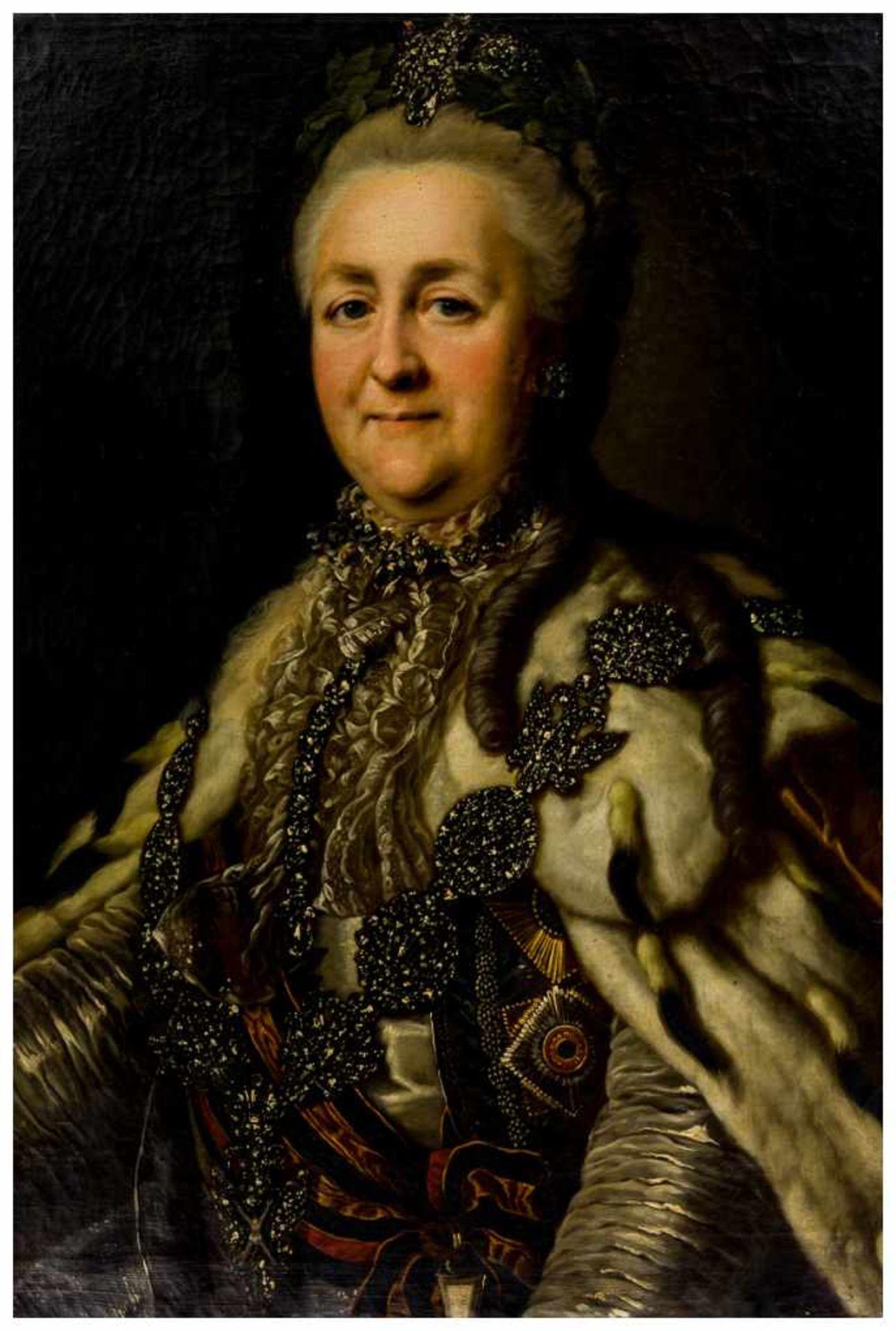 Los 55 - Katharina II, Zarin von Russland Öl auf Leinwand, doubliert, um 1776 Umkreis Alexander Roslin (