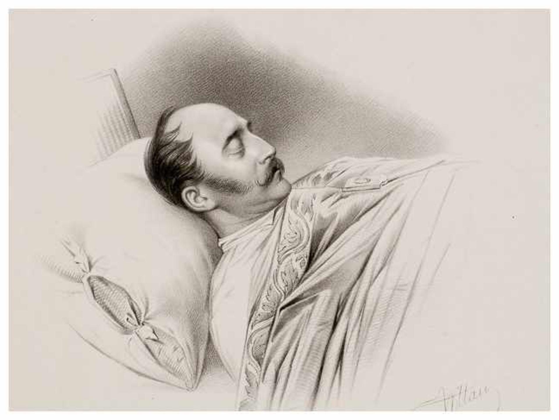 Los 44 - Zar Nikolaus I. auf dem Totenbett Lithographie, 18. Februar 1855 Papiergrösse: ca. 34,5 x 42,5 cm,