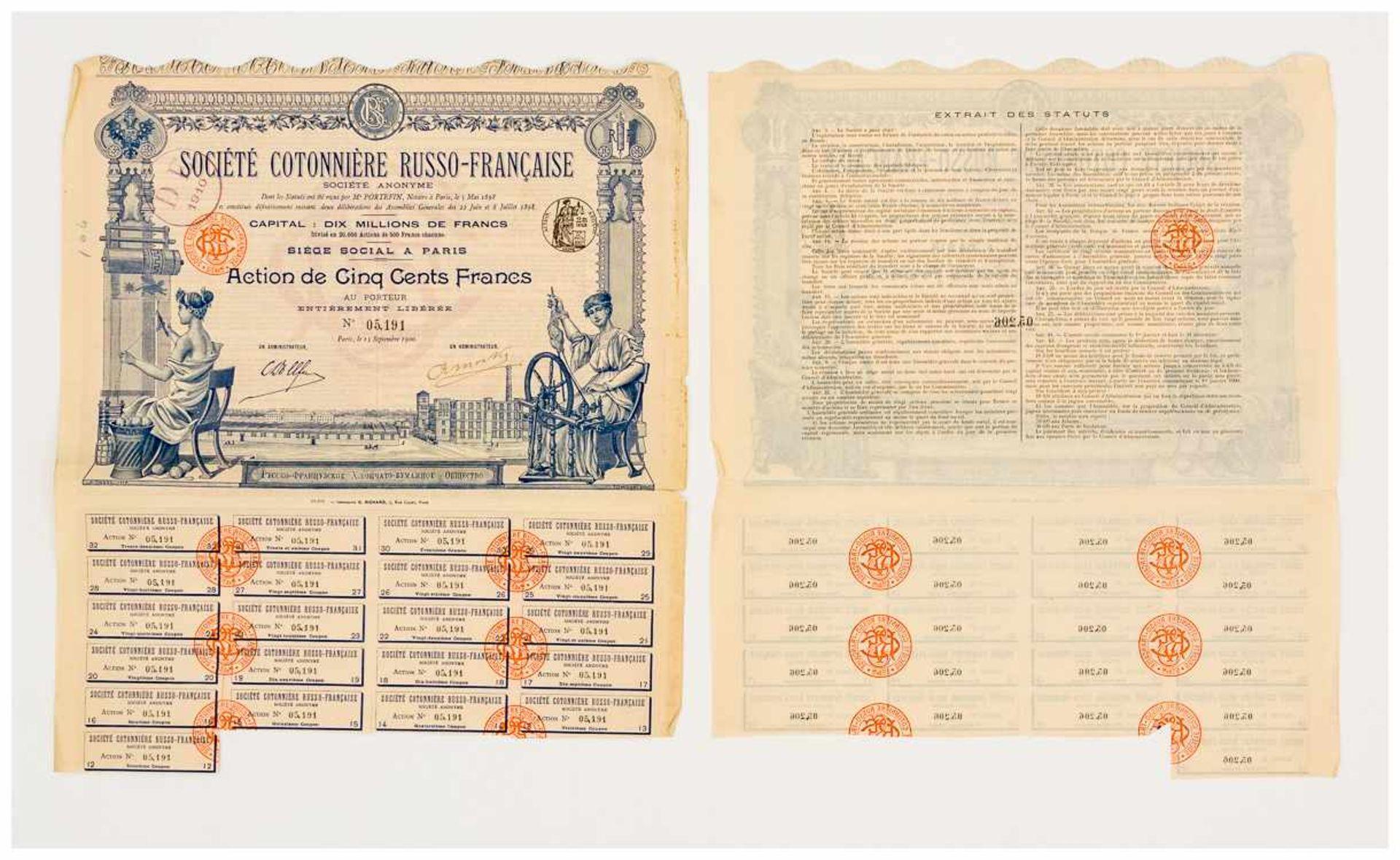 Los 38 - Zwei Aktien Société Contonnière Russo-Francaise, September 1900 je ca. 38 x 33 cm Two shares //