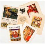 Konvolut Russland Zeitungsausschnitt, Märchen-Illustrationen nach Bilibin, Wappen, etc., 1. Hälfte