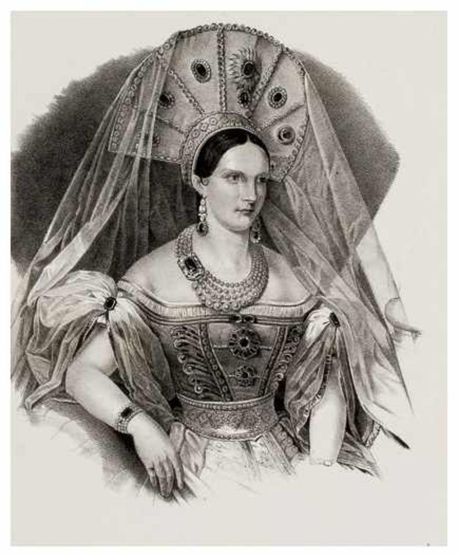Los 51 - Kaiserin Alexandra Fjodorovna Lithographie , um 1840 Papiergrösse: ca. 49 x 32 cm, Bildgrösse: ca.