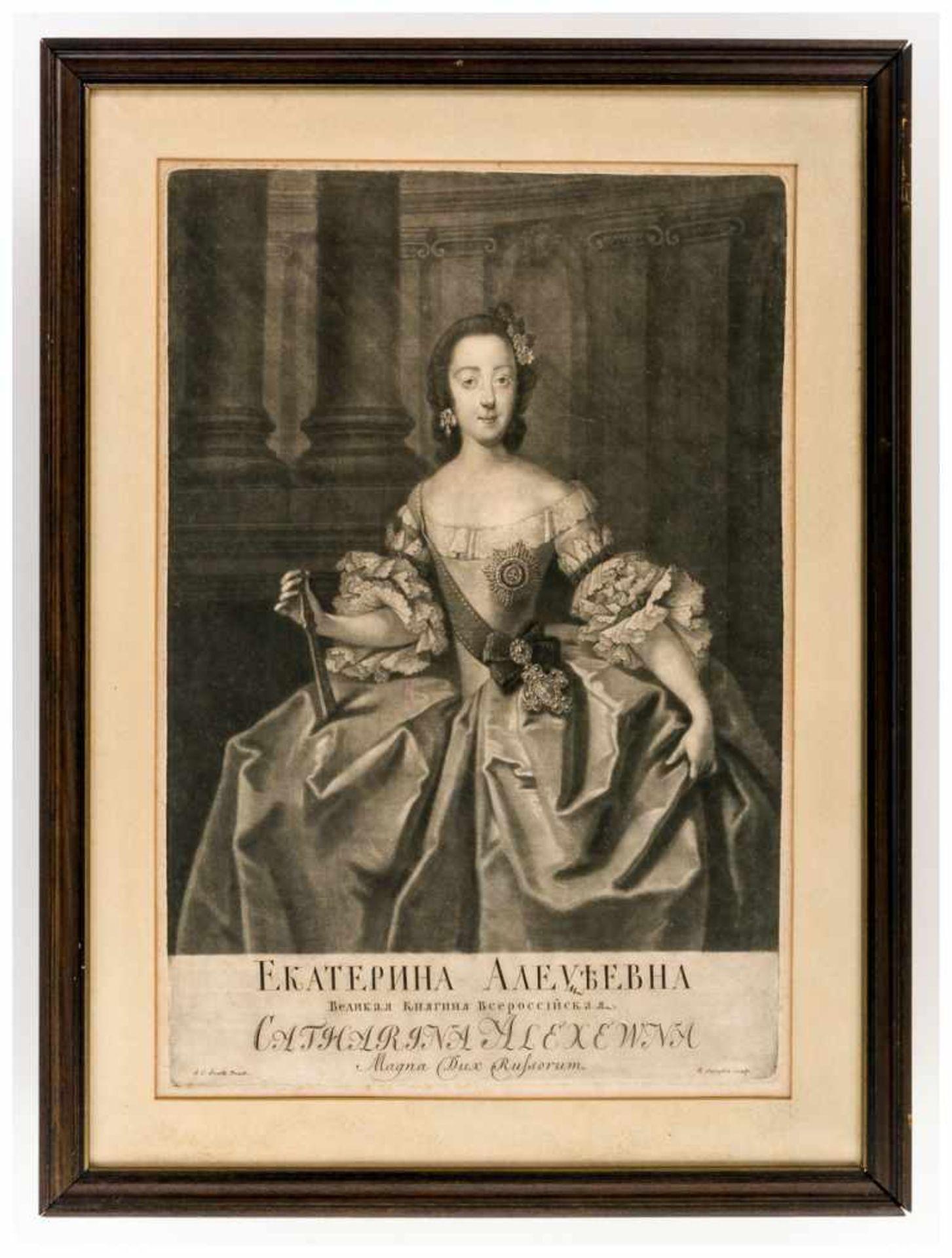 Los 53 - Großfürstin Katharina Aleksejewna, Zarin von Russland Kupferstich, um 1750 von Johann Stenglin (1715